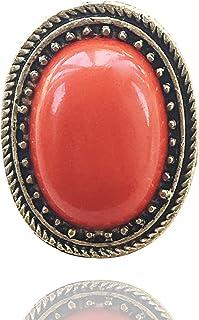 Aashya Mayro Retro Vintage Orange Crystal Stone Gold Oxidized Designer Big Adjustable Ring for Women Girls