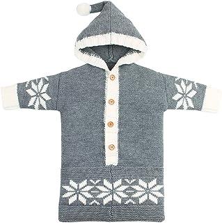 Fairy Baby Infant Unisex Christmas Knit Snowflake Wearable Blanket Solid Sleep Bag Sack Size 0-12M (Gray)
