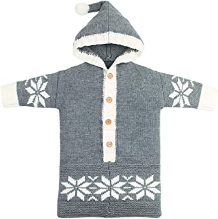 Fairy Baby Infant Unisex Christmas Knit Snowflake Wearable Blanket Solid Sleep Bag Sack Size 0-12M (Gray)