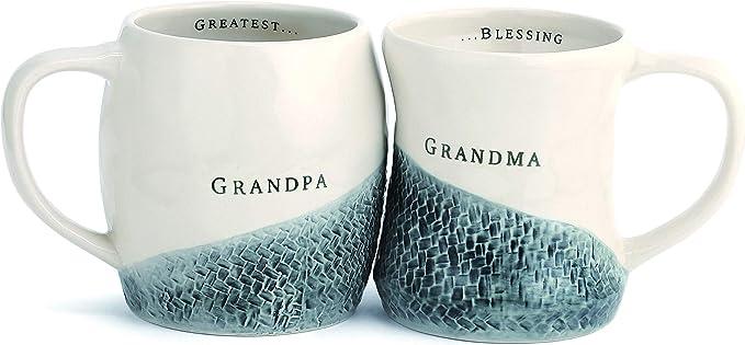 Grandma and Grandpa Hug Glossy Cream 12 ounce Stoneware Ceramic Mugs Set of 2