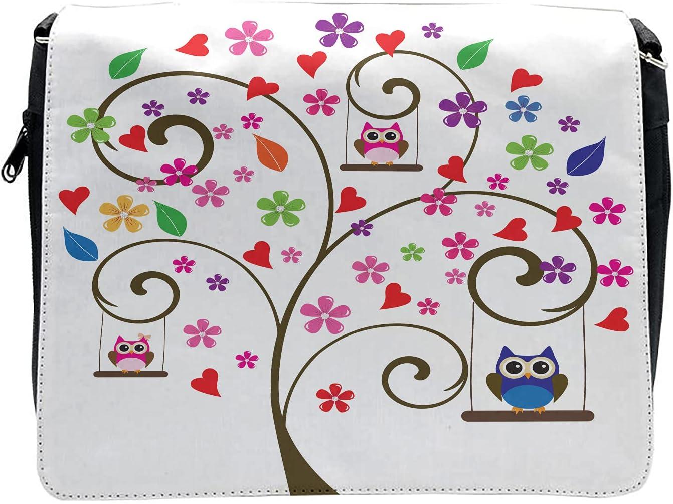 Ambesonne Owls Cross Body Messenger Bag, Tree Flowers Playful Birds, Unisex