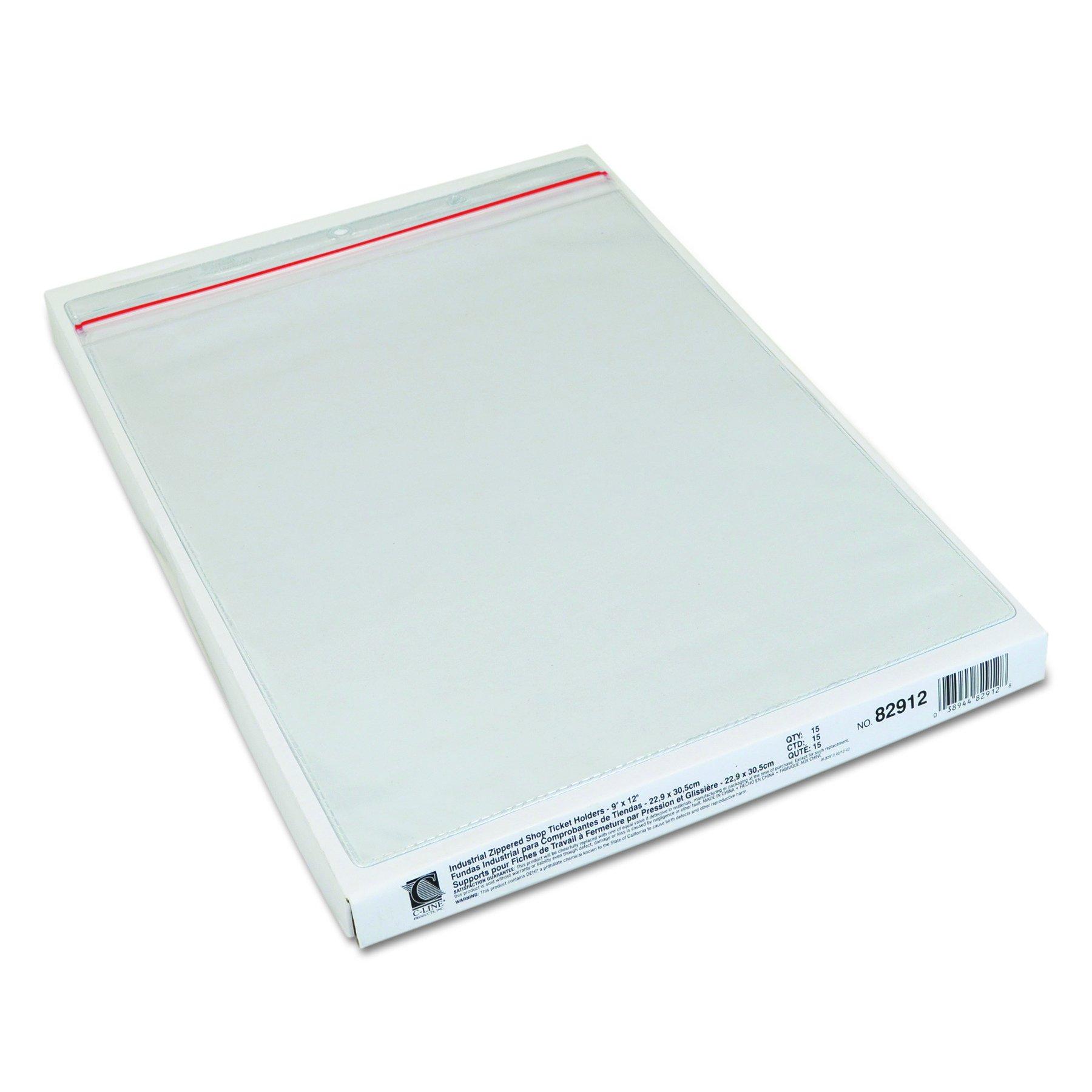 Clear 9 X 12 15//BX Sold as 1 Box 15 Each per Box Industrial Zipper Seal Shop Ticket Holders Vinyl
