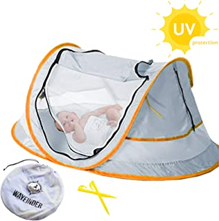 Wayfinder TravelTot, Baby Travel Tent Portable Baby Travel Bed Indoor & Outdoor Travel Crib Baby Beach Tent UPF 50+ UV Protection w/Mosquito Net and 2 Pegs (Gray/Orange)