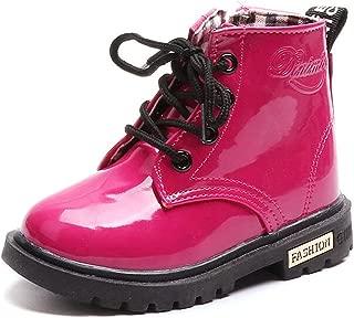 DADAWEN Boy's Girl's Waterproof Side Zipper Lace-Up Ankle Boots (Toddler/Little Kid/Big Kid)