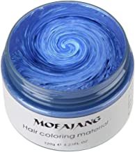MOFAJANG Unisex Hair Wax Color Dye Styling Cream Mud, Natural Hairstyle Pomade, Washable Temporary,Party Cosplay (Blue)