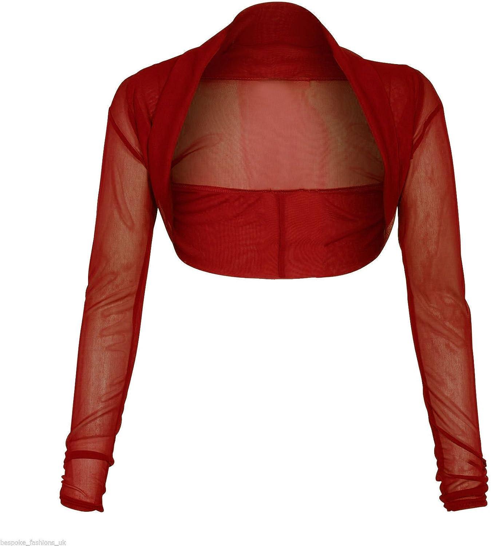 RM New Womens Full Mesh Sheer Chiffon Bolero Cropped Shrug Top Cardigan (SM-3XL)