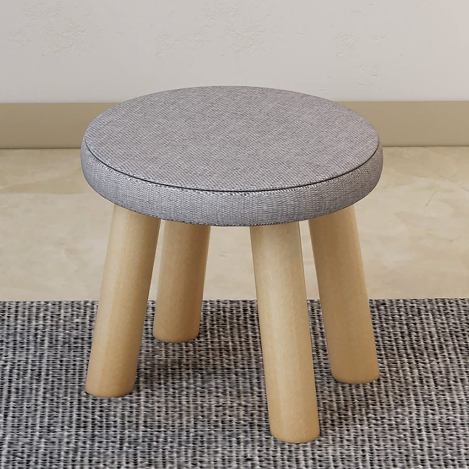 Fashion Wooden Stool, shoes Stool Cloth Sofa Stool Home Stool Courtyard Stool with 4 Legs (color   A, Size   29  26CM)