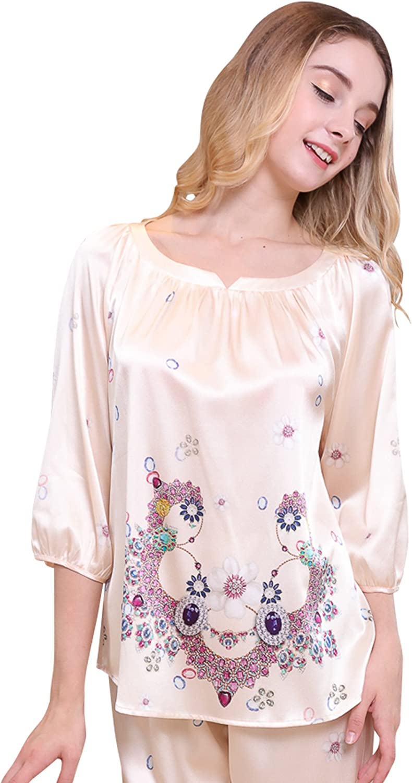 Chesslyre Women's Mulberry Silk Ivory Pajamas 2 Piece Three Quarter Sleepwear Sets