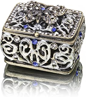 YUFENG Mini Vintage Hollow Engraving Butterfly Trinket Box Hinged Girls, Handmade Trinket Jewelry Box Decorated