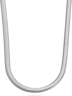 925 Sterling Silver Italian 4mm Solid Diamond-Cut Flat Snake Dome Herringbone Chain Link Necklace for Women Men 16, 18, 20, 22, 24 Inch Made in Italy