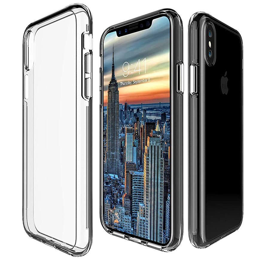 Calmpal iPhone X Hard Case,Calmpal Crystal Clear Case Hard Back Panel TPU Bumper Drop Protection Shock Absorption Air Cushion Technology Case for Apple iPhone X