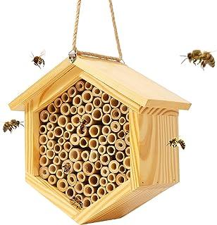 Mason Bee House Native Bee Hive Hexagon Bee House Natural Handmade Wooden Mason Bee Box Habitat Home Hotel with Bamboo Tub...