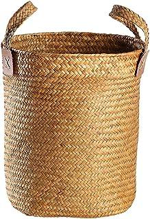 Boîte De Rangement Paille Boîte De Rangement Ménage avec Panier De Rangement Binaural Cache-Pot Simple Seau (Color : Orang...