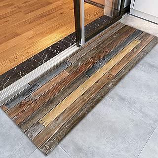 Rustic Old Wooden Board Print Memory Foam Doormat Non Slip Super Absorbent Soft Coral Fleece Bathroom mats Bath Rugs Doormats Carpet 47 X 16 Inches