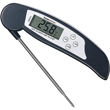 Bonsenkitchen Termometro Cucina Digitale, Termometro da Carne a Lettura istantanea per grigliate, Barbecue e Bevande liquide riscaldate, Ampio Display LCD Digitale, Nero (ST8731)