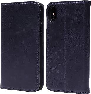 steady advance 最高級 本革 (牛革) iPhoneXS iPhone X アイフォン10 XS 用 スマホ ケース 手帳型 < 硬度 9H 強化 ガラスフィルム > セット ソフトレザー マグネット式 (iPhoneXS X, スマルトブルー)