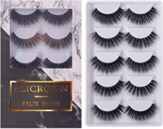 MIAMI Eyelashes 5 Pairs Pack 3D Fake Eyelashes Mink Fur Hand-Made Dramatic Thick Crisscross Deluxe False Lashes Black Nature Fluffy Long Soft Reusable