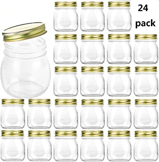 Encheng 10 oz Glass Jars With Lids,Ball Wide Mouth Mason Jars For Storage,Canning Jars For Caviar,Herb,Jelly,Jams,Honey,Dishware Safe,Set Of 24