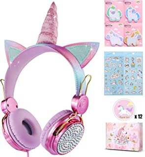 Charlxee Unicorn Kids Headphones Children Girls Teens Foldable Adjustable Headband On Ear Headphones Stereo Tangle-Free cord 3.5mm Jack Compatible iPad Cellphones Computer MP3/4 Kindle Airplane-(Rose)
