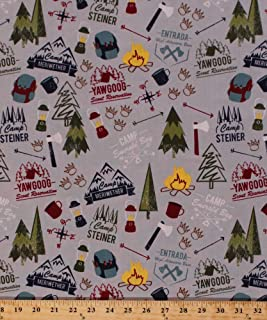 Cotton Boy Scouts of America BSA Council Camps Reservations Camping Equipment Backpacks Lanterns Ax Axes Compass Rose Campfires Outdoors Nature Modern Scouting Cotton Fabric Print BTY (c6200-gray)