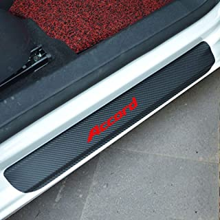 SENYAZON Accord Decal Sticker Carbon Fibre Vinyl Reflective Car Door Sill Decoration Scuff Plate for Honda Accord (red)