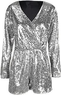Women's Sequin Wrap Deep V Neck Tunic Jumpsuit Long Sleeve Party Romper