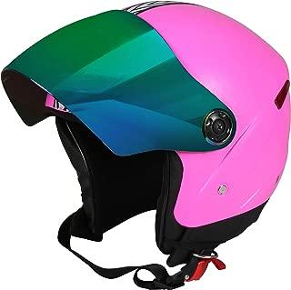 JMD HELMETS GRAND Premium Open Face Helmet With Mirror Visor (Pink, Large)
