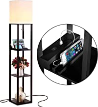 Brightech Maxwell Charger - Shelf Floor Lamp with USB Charging Ports and Electric Outlet - Tall, Narrow Tower Nightstand for Bedroom - Modern, Asian End Table with Light Attached - Black