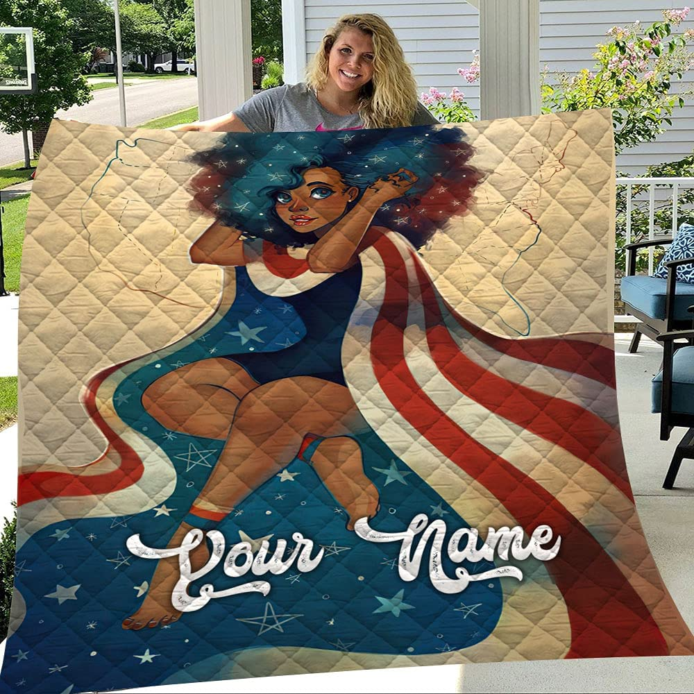 GANTEE Bombing new work Black Girl with American Customized Soft Blank shipfree Quilt Flag