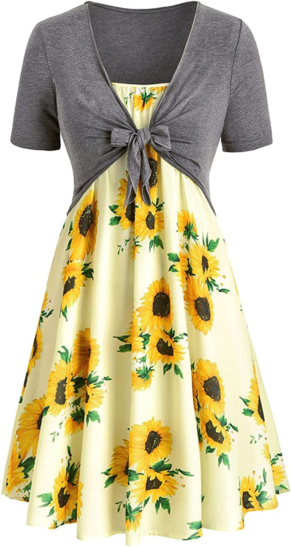 Gerichy Summer Dresses for Women, Women Casual Summer Short Sleeve Bandage Top Dress Sunflower Printed Mini Suit Dress