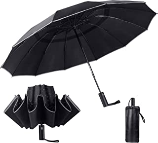 Sponsored Ad - Luxtude Travel Compact Reverse Umbrella, 12 Ribs Heavy Duty Inverted Umbrellas, Double Vented Windproof umb...