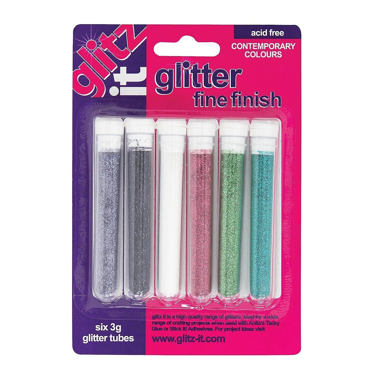 Glitz It 3 g Fine Contemporary Finish Glitter Tube, Pack of 6, Multi-Colour