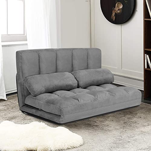 new arrival Giantex Adjustable Floor Sofa, Foldable Lazy Sofa Sleeper Bed 6-Position Adjustable, Suede Cloth Cover, Floor Gaming outlet sale Sofa online Couch with 2 Pillows for Bedroom/Living Room/Balcony (Gray) online sale