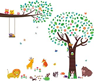 DECOWALL DA-1312P1410 Large Tree with Animal Friends and Branch with Owls Kids Wall Decals Wall Stickers Peel and Stick Removable Wall Stickers for Kids Nursery Bedroom Living Room