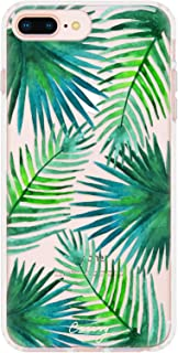 Casery Case Designed for The Apple iPhone, Palm Leaves (Tropical Leaves) - Military Grade Protection - Drop Tested - Protective Slim Clear Case for Apple iPhone 8 Plus, iPhone 7/6/6s Plus