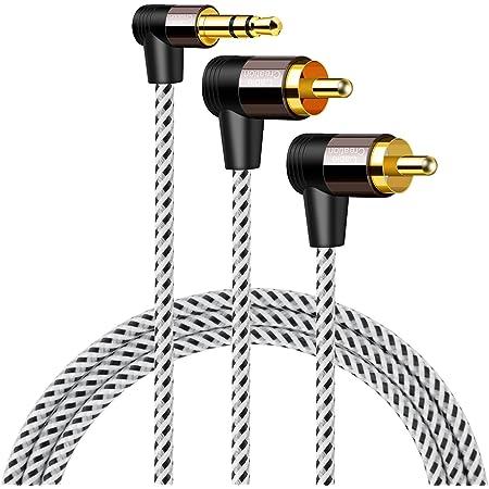 3.5mm to RCA,CableCreation L型 3.5mm オスto 2RCA オス AuxステレオオーディオY分岐変換ケーブル2分配ケーブル 金メッキ処理 スマホン、 MP3、タブレット、スピーカー、ホームシアター、HDTV対応 ブラック&ホワイト/1.5M