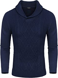 COOFANDY Men's Shawl Collar Sweaters V-Neck Cotton Relaxed Fit Cable Pullover
