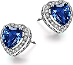 Caperci Sterling Silver Heart Gemstone Stud Earrings for Women, Jewelry Gifts for Her