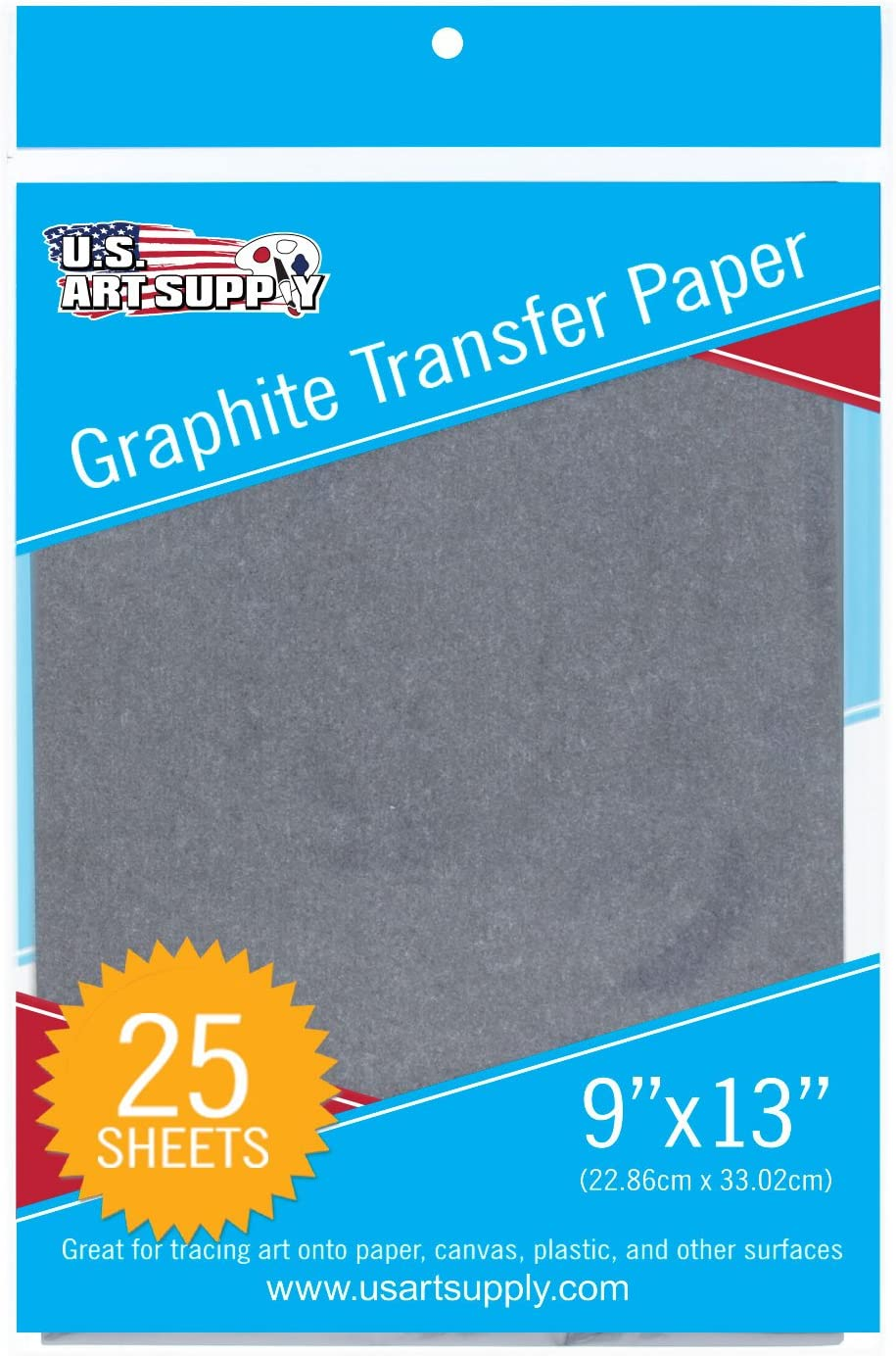 """U.S. Art Supply Graphite Carbon Transfer Paper 9"""" x 13"""" - 25 Sheets - Black Tracing Paper for All Art Surfaces"""