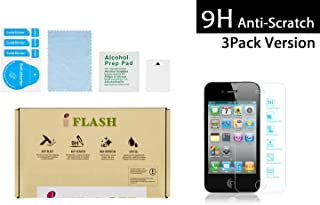 iFlash 3 Pack of Premium Tempered Glass Screen Protector For Apple iPod Touch 4th Generation - Transparent Crystal Clear / 2.5D Rounded Edges / 9H Hardness / Scratch Proof / Bubble Free / Oleophobic Coating / 0.3mm Thickness (3Pack, Retail Package)