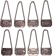 Whiskey Silver Liquor Decanter Tags//Labels Set of Eight Gin, Bourbon Scotch