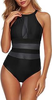 Zexxxy Women One Piece Swimsuit Mesh High Neck Bathing Suit Tummy Control Swimwear