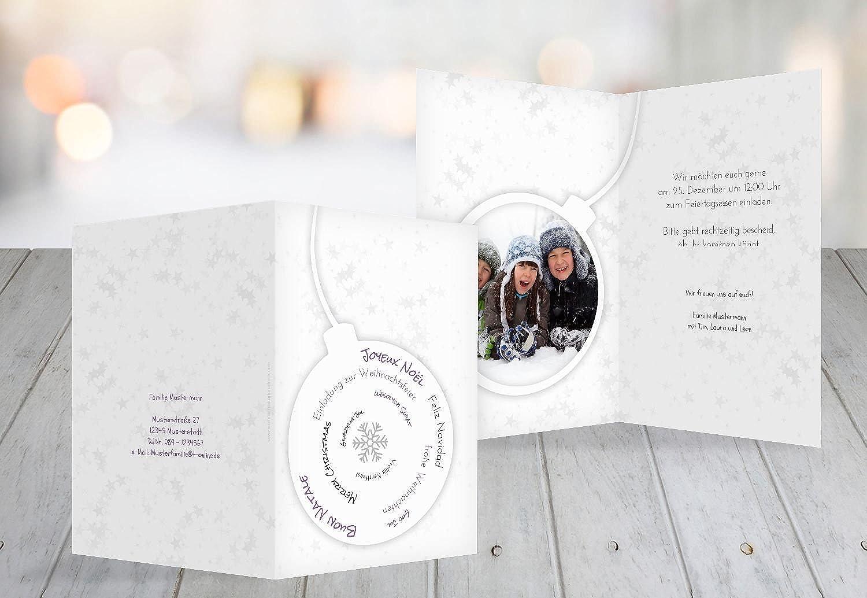 Kartenparadies Einladungskarte zu Weihnachten Foto Einladung Schriftkugel, hochwertige Weihnachtseinladung zum zum zum Selbstgestalten (Format  105x148 mm) Farbe  Lilamatt B01N74JN9H | Modernes Design  c6e2e4