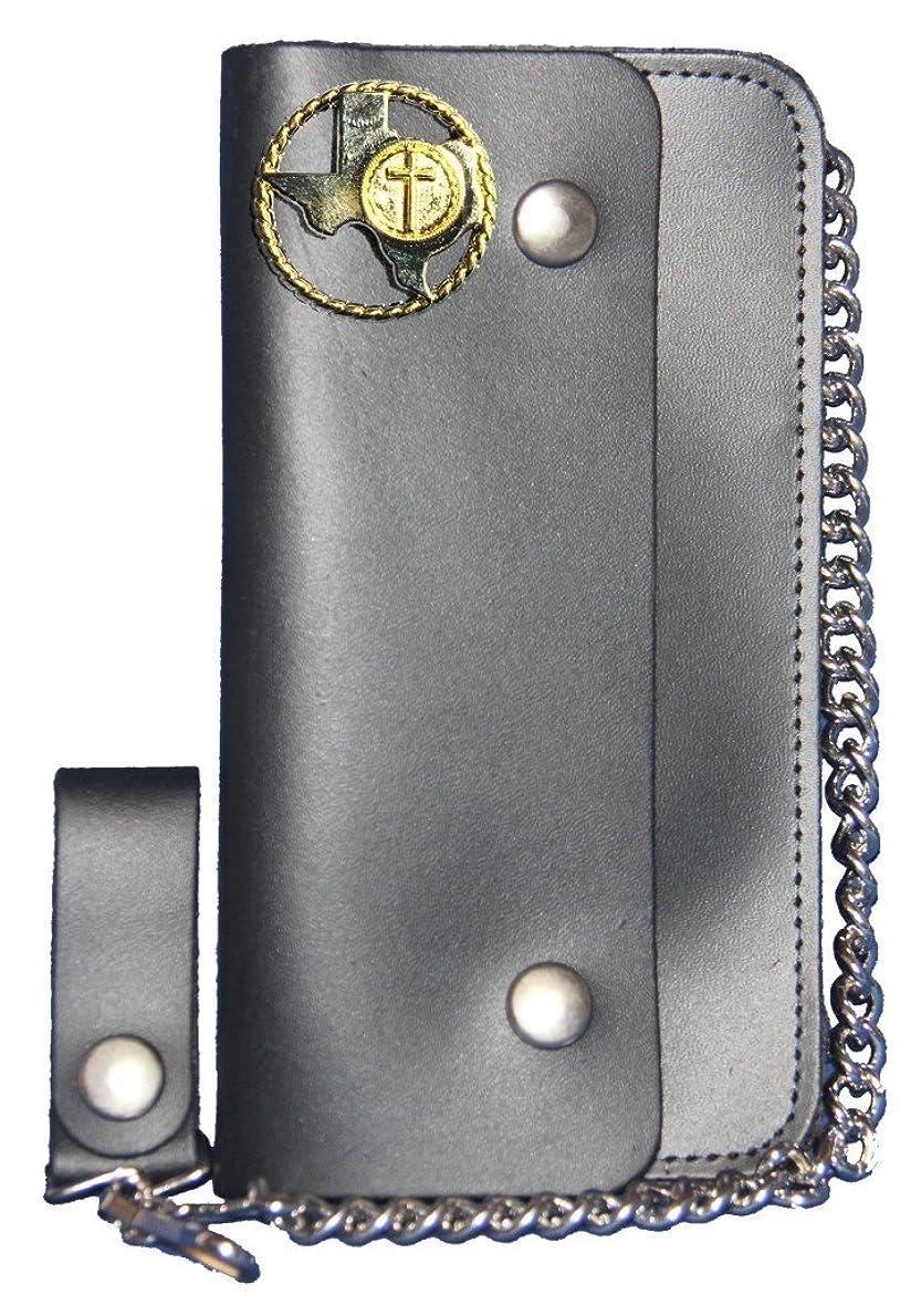 枠靴下花婿カスタムTexasロープとクロスロングブラックチェーン財布。Made In USA
