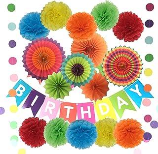 Pancarta con pompones de papel de seda para decoración de cumpleaños, flores de papel, abanicos de papel y guirnaldas, 10 pompones y 6 abanicos de papel