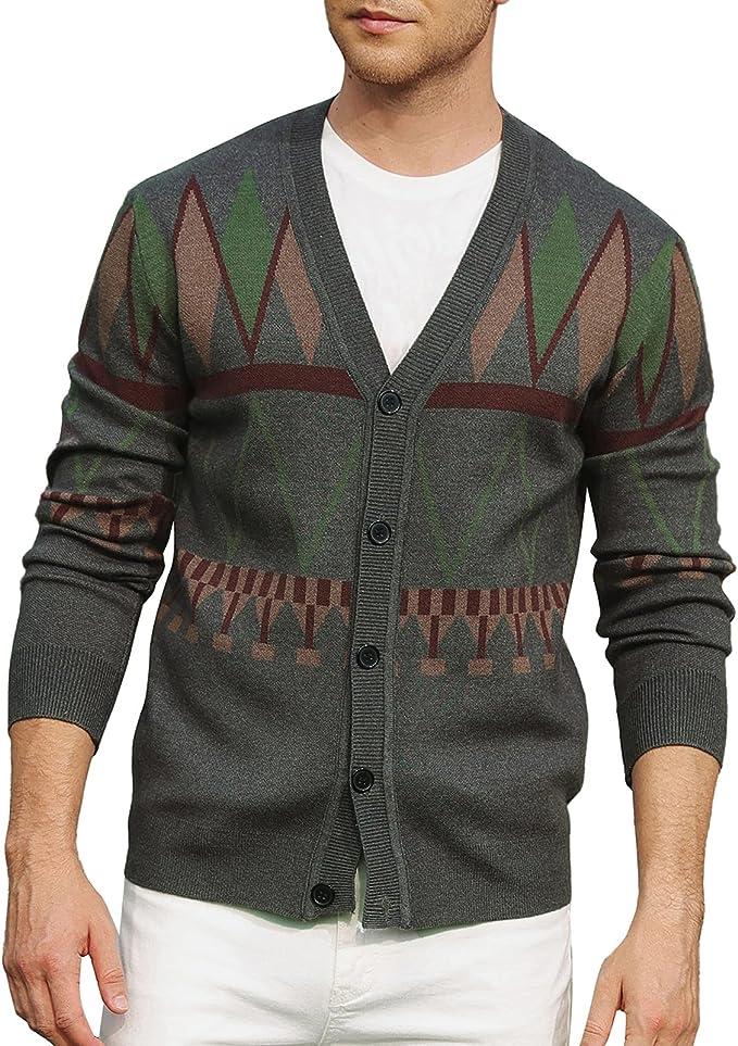 1960s Mens Shirts | 60s Mod Shirts, Hippie Shirts PJ PAUL JONES Mens Aztec Print V-Neck Cardigan Sweater Geometric Button up Sweater  AT vintagedancer.com