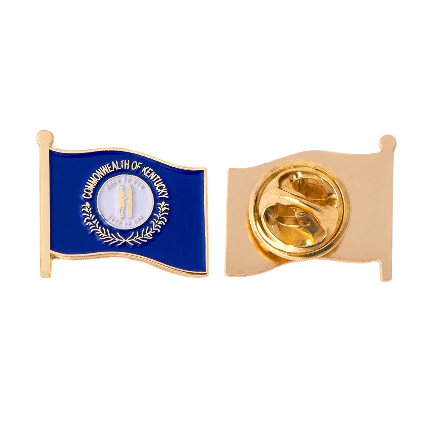 Kentucky KY State Flag Lapel Pin Enamel Made of Metal Souvenir Hat Men Women Patriotic (Waving Flag Lapel Pin)
