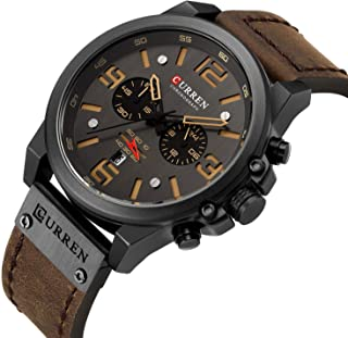 Military Watches for Men Men's Leather Strap Analog...