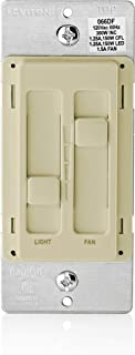 Leviton 66DF-10I SureSlide Dual Quiet Light Control for 150W LED, 300W Incandescent/Halogen, 1.5 Amp Fan, 120V, Ivory