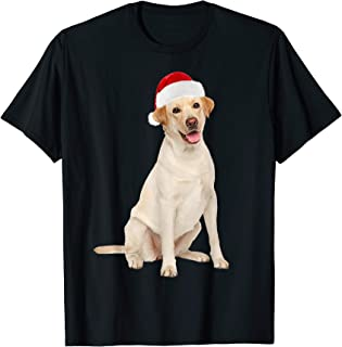 Santa Hat Yellow Lab Portrait Labrador X-mas T-Shirt